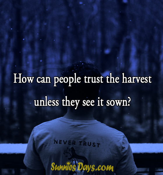 How can people trust the harvest unless they see it sown?  #trust #quote #bestof #nevertrust #people #life #saying