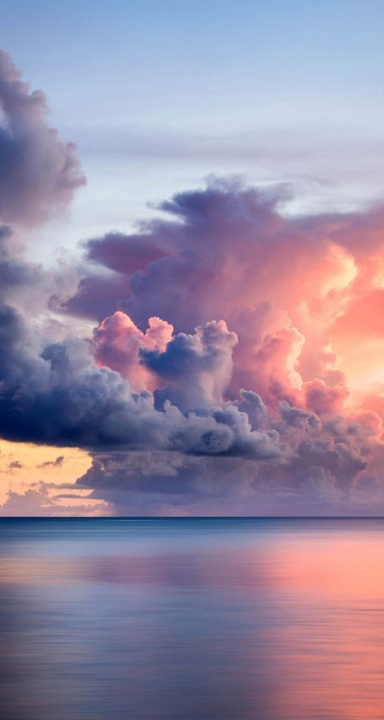 lovely pink clouds at sunset! #sunset #sky #clouds #pink #sea #background