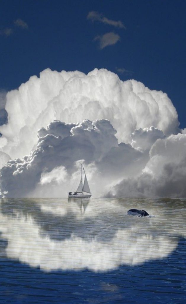 Sailboat on the horizon are dwarfed by huge storm clouds forming. #sailboat #amazing #clouds #sea #horizon #iPhone