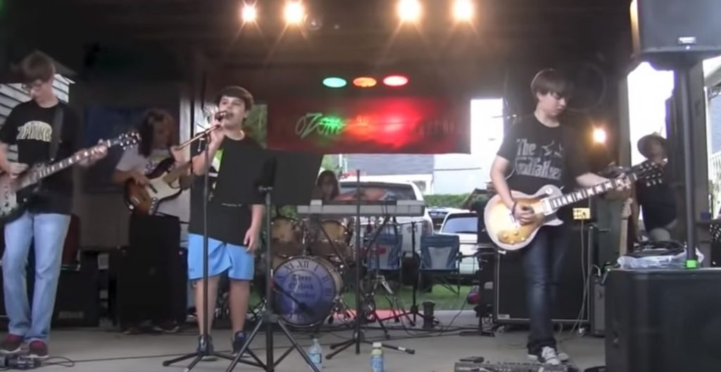 rock, band, garage, music, instrumrnts, guitar, song, crowd, street, neighbor, kids, teenagers, home, sing, singer, amazing, talented, gifted, impressive,
