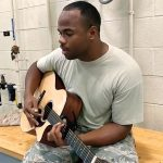song, talent, guitarist, guitar, voice, army, soldier, performance,